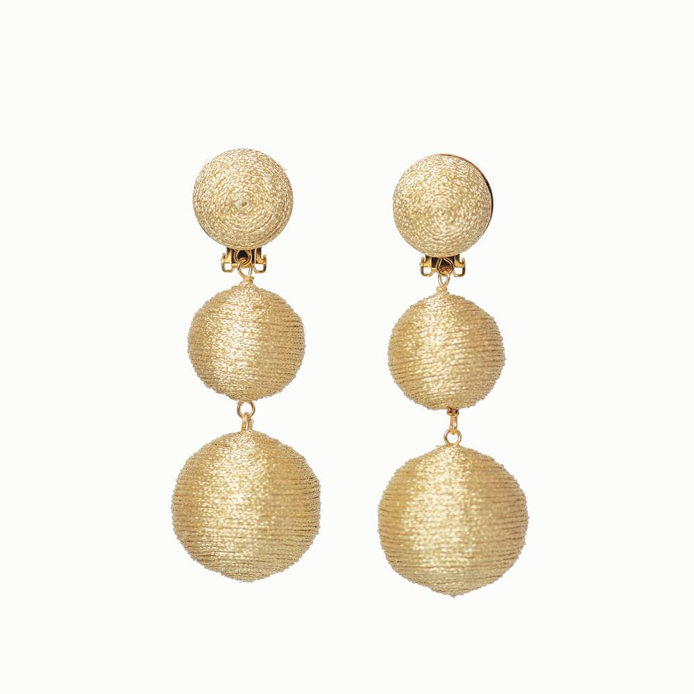 KEP 3 Ball Drop Earrings Gold