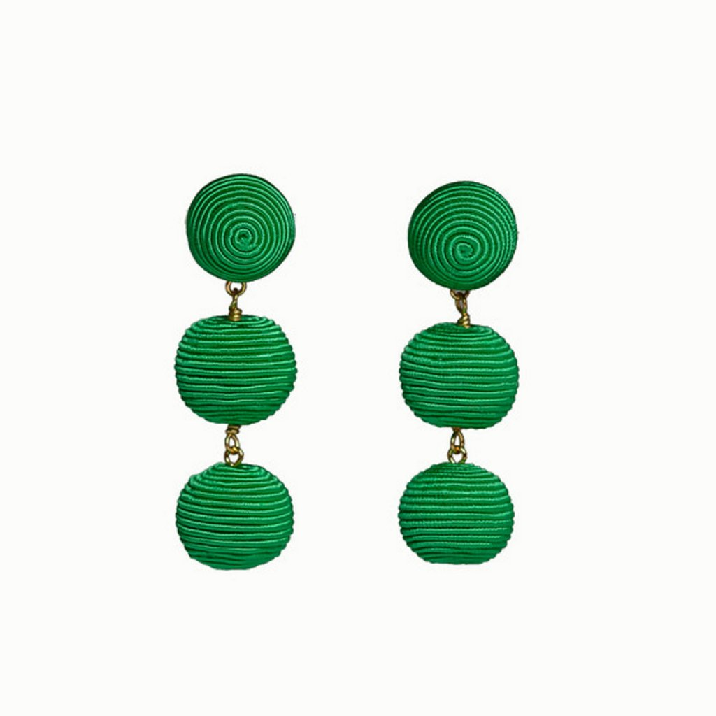 KEP 3 Drop Mini Earrings Green